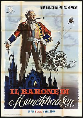Il Barone Di Munchhausen Manifesto Cinema Film Baron Prásil Movie Poster 4F