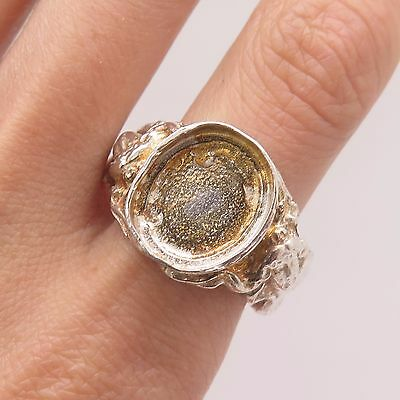 Antique 925 Sterling Silver Victorian Lady Unfinished Ring Size 11