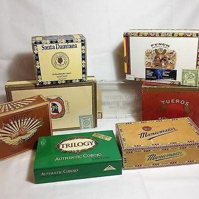 Lot of 8 Cigar Boxes EMPTY Tueros Trilogy White Owl Pirata Punch Wooden