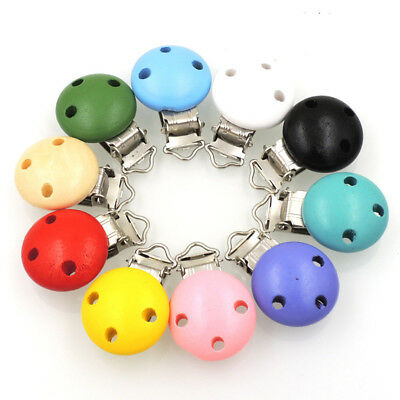 Baby Infant Soother Pacifier Suspender Wooden Clips Colorful Nipple Fashion