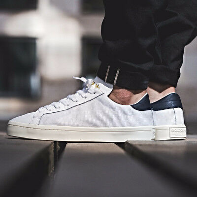 cheap for discount 939da b4c56 ADIDAS COURTVANTAGE WHITE NAVY SHOES Size 7 8 9 10 11 12 no stan smith nmd  og y3