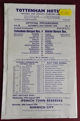 1975-76 TOTTENHAM HOTSPUR - RESERVES vs. BRISTOL ROVERS  VGC NO. 3  NEAT PENCIL