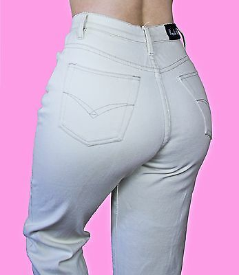 VINTAGE Cream White 90s Grunge Denim Cotton High Waisted Mom Jeans Trousers S