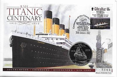 Jersey 2012 RMS Titanic Centenary BU £5 Coin in Gibraltar Stamp Cover
