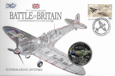 Guernsey 2010 Royal Air Force Spitfire £5 BU Crown Coin in Stamp Cover
