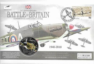 Guernsey 2010 Royal Air Force Hawker Hurricane £5 BU Crown Coin in Stamp Cover