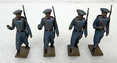 Vintage Mignot Lead Soldiers Set Of 4 Alpine Mountain Troops Marching Rifles