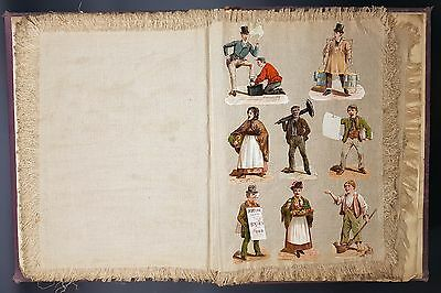 Exceptional Victorian Scrap Album, Fabric Pages W Mix Of Litho Scraps, Pictures