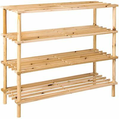 4 Tier Slated Shoe Rack Natural Wooden Storage Stand Organiser By Home Discount