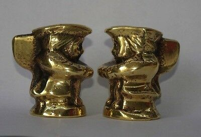 MIniature Pair of Vintage Brass Toby Jugs ornaments / Trinket Holders
