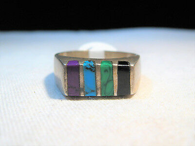Vintage Heavy Large Sterling Silver Taxco Mexico Mens Inlay Ring K499