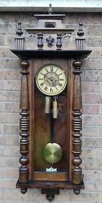 19th century double  weight vienna regulator wall clock scottish dial