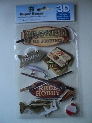 Paper House Hooked On Fishing 3D Stickers Bnip *new*