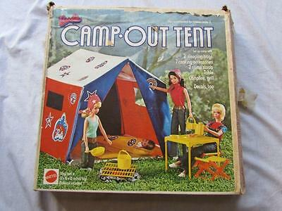 VINTAGE Barbie Mattel 1972 camp out tent playset with box and accessories