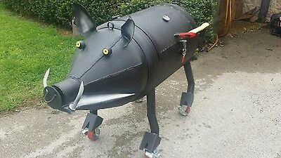 Smoking boar BBQ smoker pit pig custom party catering rig grilling