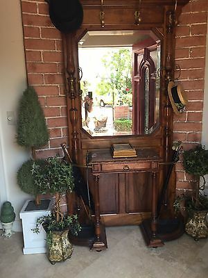 Antique Victorian Hall Tree Beveled Mirror Glove Drawer Umbrella Trays ORIGINAL
