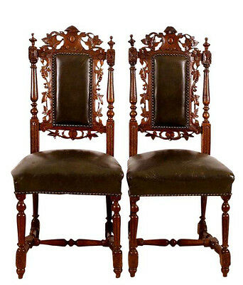 19th Century Belgian  Black Forest Carved Dining Room Chairs Free Shipping