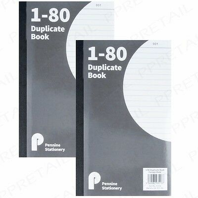 2x A5 DUPLICATE BOOKS 1-80 Numbered Pages Carbon Receipt Cash Invoice Office Pad