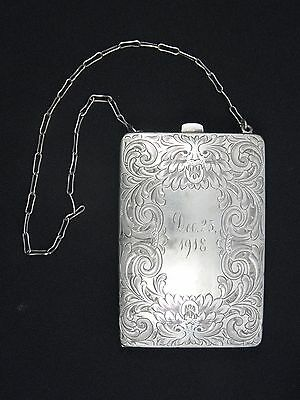 ANTIQUE LADIES STERLING SILVER PURSE CIGARETTE CASE CHANGE HOLDER COMPACT 95.7g