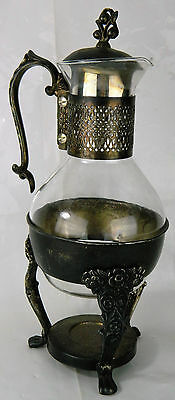 Vtg Glass Pitcher Coffee Pot Silver Plated Stand Warmer Holder Carafe Antique