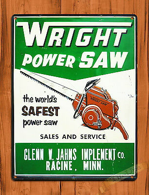 "TIN SIGN ""Wright Power Saws"" Chainsaw Vintage Garage Wall Decor Man Cave"
