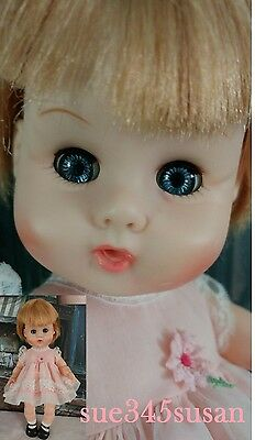 """Vintage 1964 Vogue Ginny Baby Doll 12"""" Drink & Wet Sleep Eye with clothes"""
