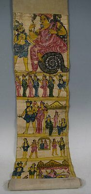 19th C. Cheriyal India Hand painted Narrative Scroll