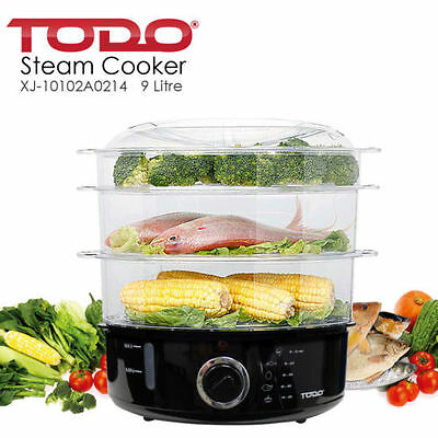 Electric Food Cooker Steamer Family Sized 9L 3 Tier Healthy Meal Machine