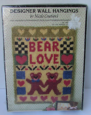 BEAR LOVE Designer Wall Hangings Nicole Creations 1809 Rug Hooking Latch NEW KIT