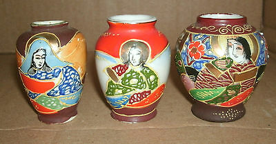 Three Mini Japanese Vases Made In Japan Occupied Japan With Raised Moriage Bead