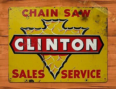 "TIN-UPS TIN SIGN ""Clinton Chain Saw Sales And Service"" Vintage Rustic Wall Decor"