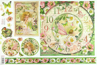 Rice paper -Flower Clock Fairy- for Decoupage Decopatch Scrapbook Craft