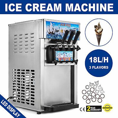 3 Flavor Soft Ice Cream Maker Frozen Yogurt Machine 18L/H LCD Display