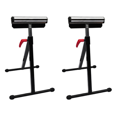 2pc Roller Support Stand Steel Heavy Duty Adjustable Foldable Bench Saw Storage
