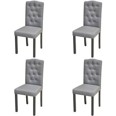 Set of 4 Fabric Upholstered Dining Chair Dark Grey Kitchen Dining Room