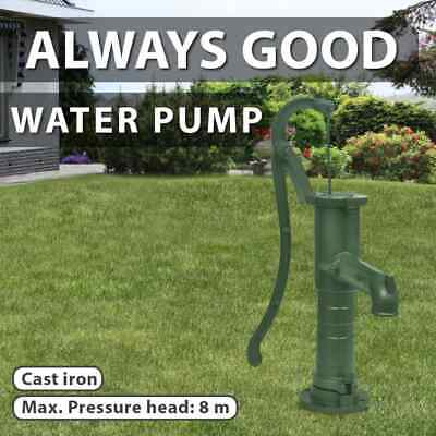 Outdoor Antique Style Garden Hand Water Pump Solid Cast Iron Water Feature Green
