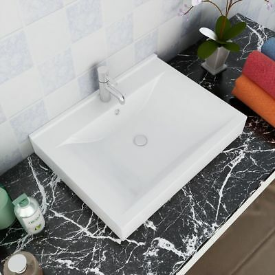 Ceramic Wash Basin Bathroom Vanity Unit Faucet Hole White Sink Counter Top Hung