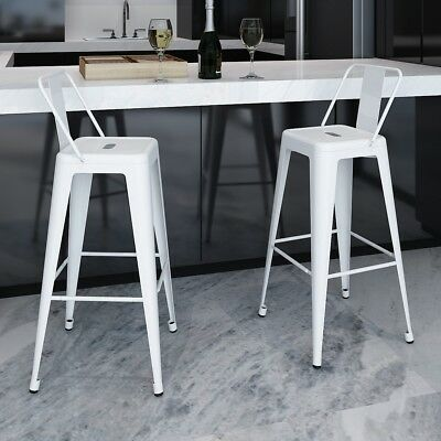 2 pcs White Steel Bistro High Bar Stool with Backrest Kitchen Dining Room Cafe