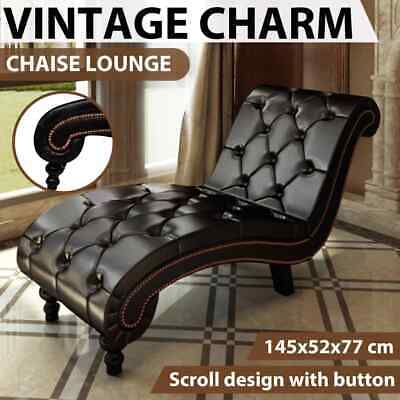 vidaXL Leather Chaise Lounge Chesterfield Brown Retro Sofa Bed Recliner Chair
