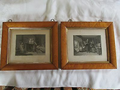 Pair Antique Birds Eye Maple Frames with Prints of Old Etching / Engraving