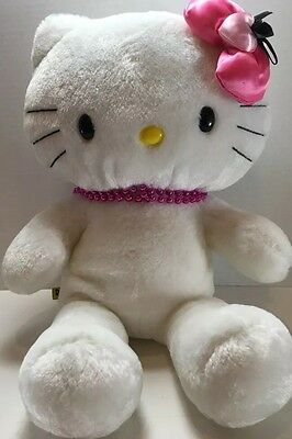 "Build A Bear 17"" White Hello Kitty - Pink Heart Bow & Bead Necklace! - AC"