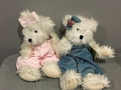 """Boyds Bears Winnie & Winnie II Pair in Pink and Blue Rompers 14"""" Soft jointed"""