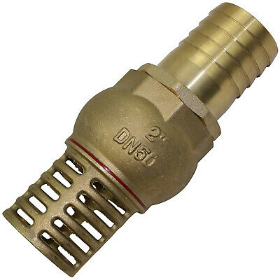 "Brass Foot Valve with 2"" 50.8mm BSP Male Thread Strainer Water Pump Hose Suction"