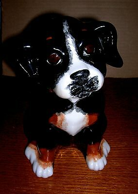 Bernese Mountain Dog Puppy Porcelain Figurine Statue & Book