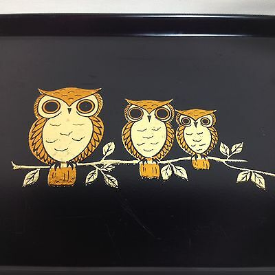 Otagiri Trays (Lot Of 4) Owls Foil Black Melamine Japan