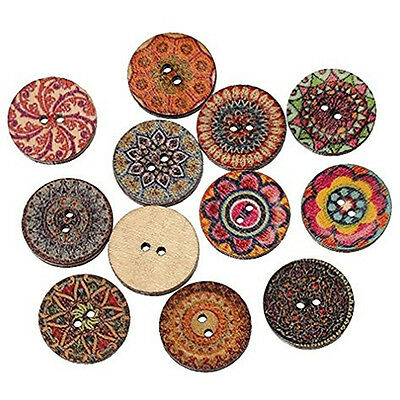 Pack of 5 Vintage Decorative Wooden Buttons - Round 15mm - Sewing / Scrapbooking