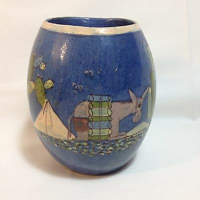 Pottery Mug Hand Painted Burro Donkey Made In Mexico