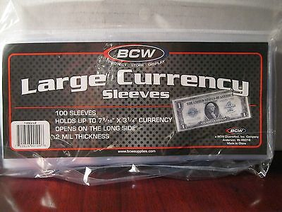 BCW 5 Currency Sleeves Large Bills
