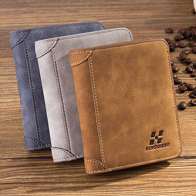 New Men Leather ID credit Card holder Clutch Bifold Coin Purse Wallet Pockets