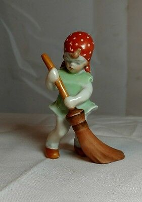 Herend Hungary Handpainted Peasant Girl Sweeping with Broom Figurine
